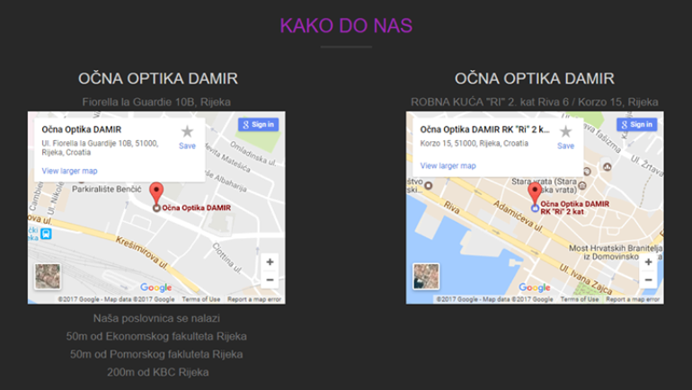 KAKO DO NAS – OPTIKE DAMIR